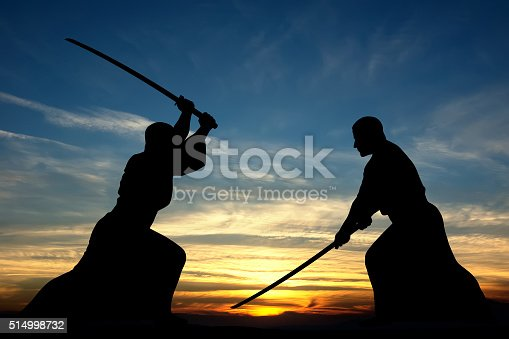 Martial art sword combat silhouettes illustration on sunset background