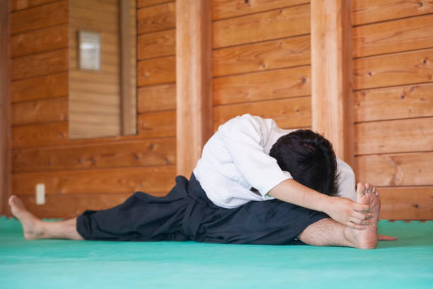 Martial Art Practitioner Stretching stock photo