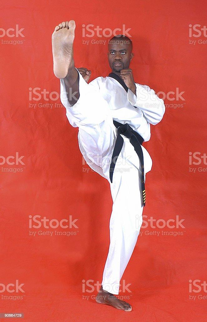 Martial artist front kick stock photo