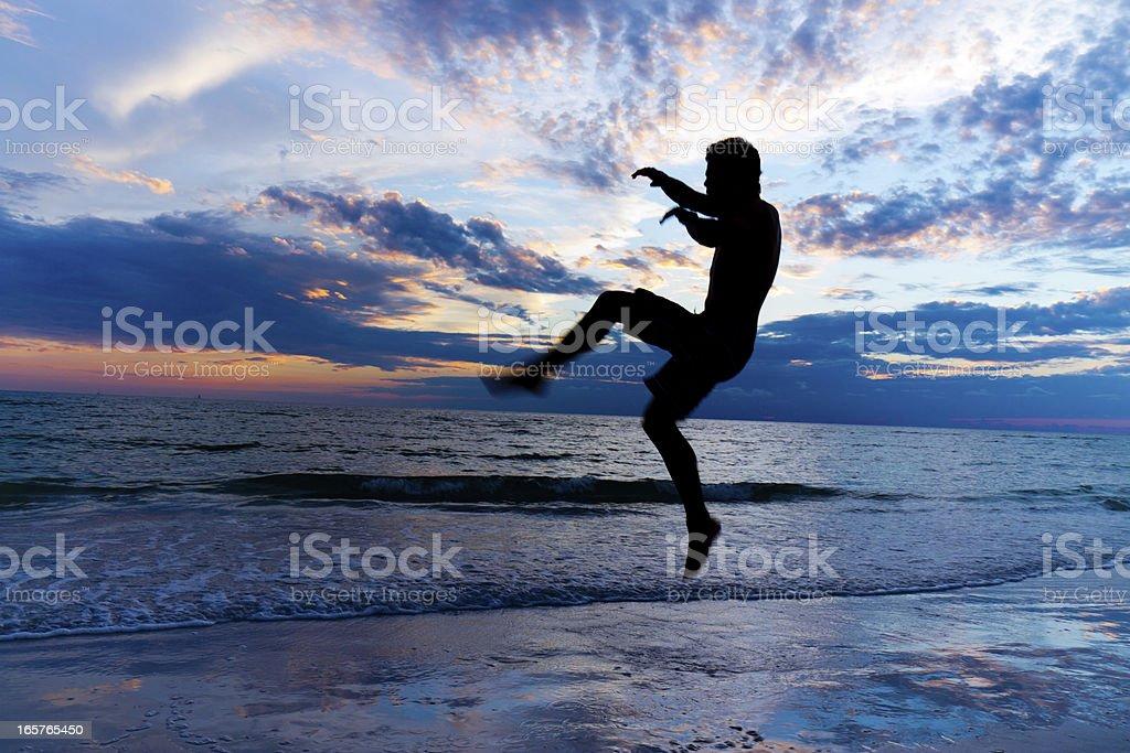 Martial artist kicks at sunrise royalty-free stock photo