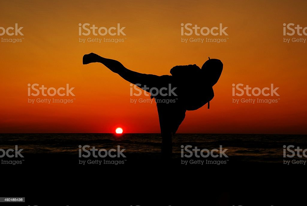 Martial arts at sunset stock photo