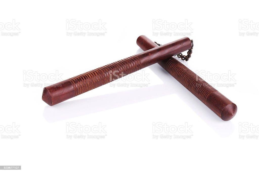 Martial arts nunchaku weapon. stock photo