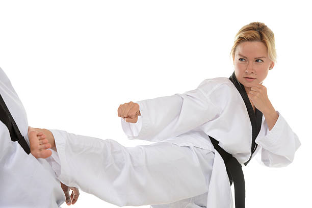 Martial Arts Partner Contact stock photo