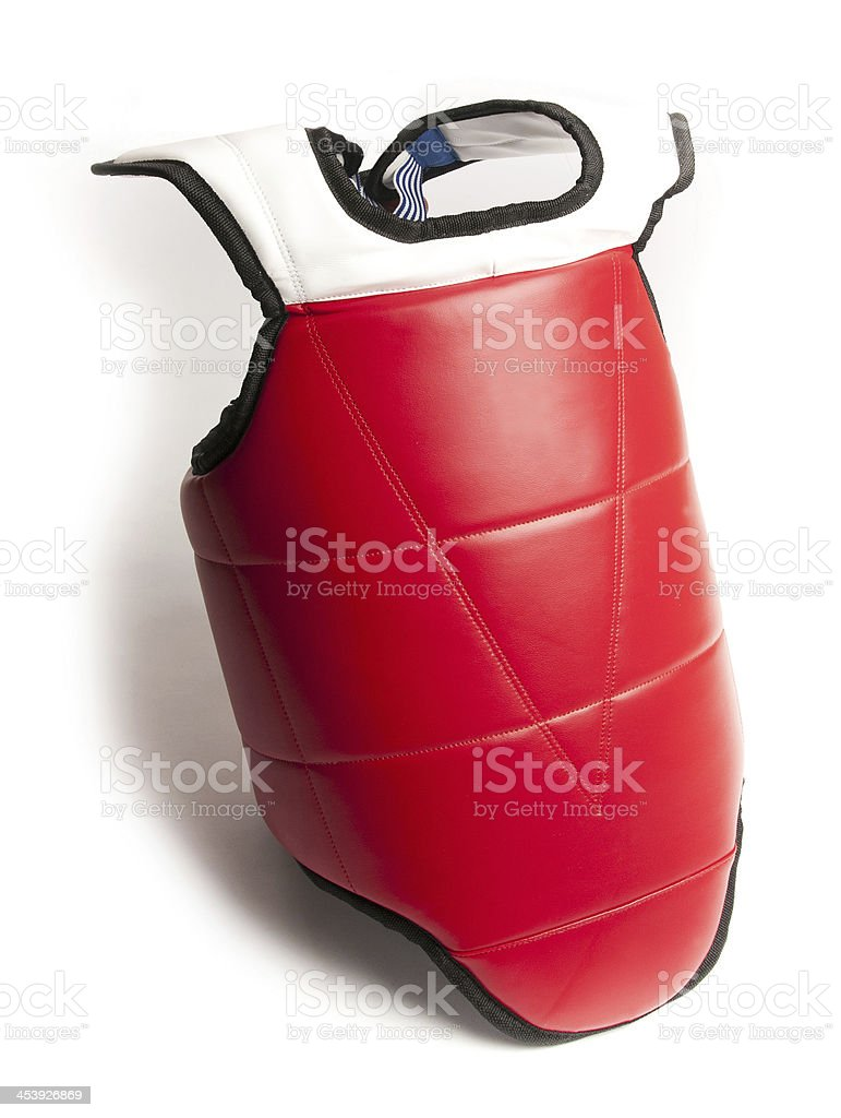 Martial Arts Sparring Competition Chest Guard stock photo