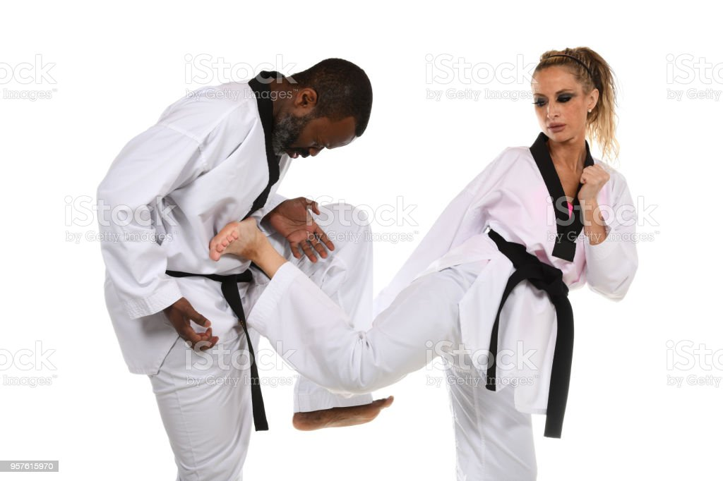 Martial Arts Sparring Training stock photo