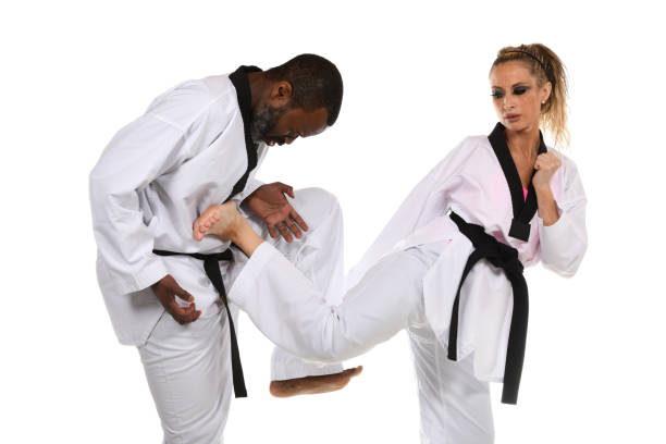martial arts sparring training - martial arts gerville stock photos and pictures