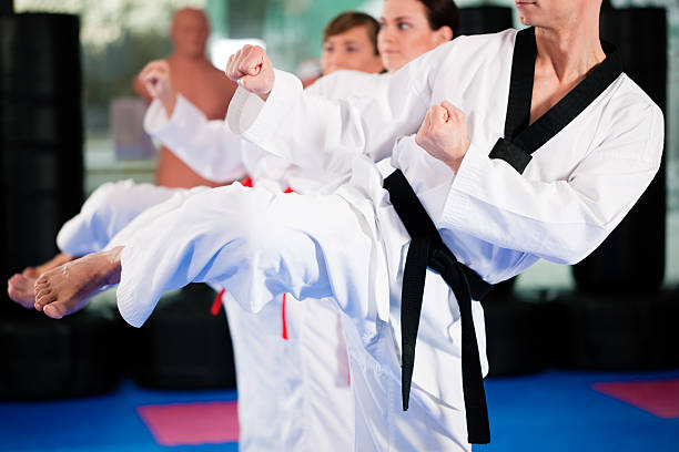 martial arts sport training in gym - karate stock photos and pictures