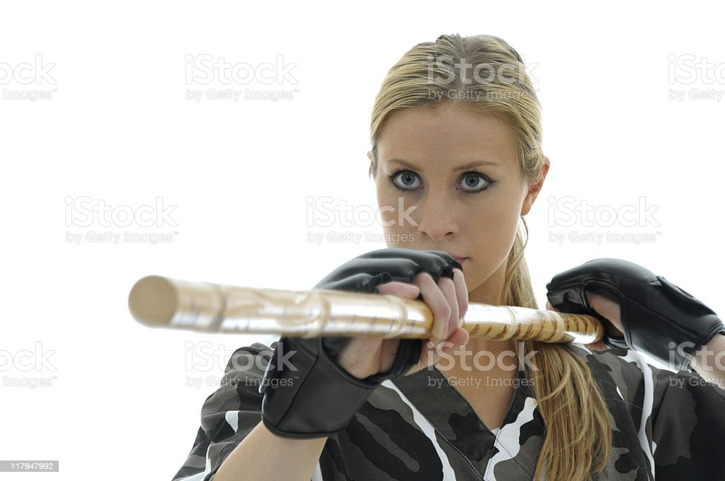 Martial Arts staff training stock photo