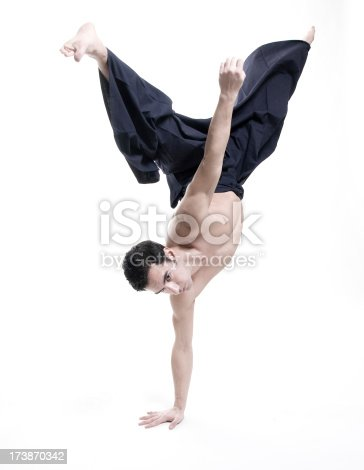 istock martial arts: young male  wearing kendo pants 173870342