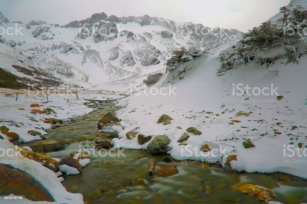 Martial Glacier and river flowing water, Ushuaia - Tierra Del fuego, Argentina stock photo