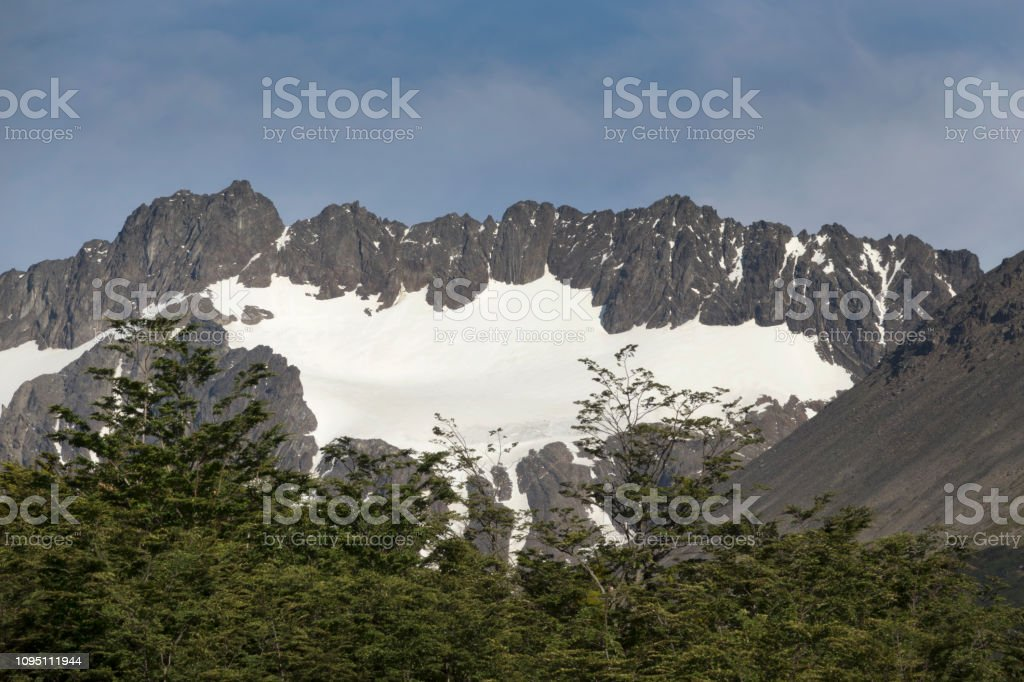 Martial Mountains glacier Ushuaia Argentina Patagonia subantarctic birch forest stock photo