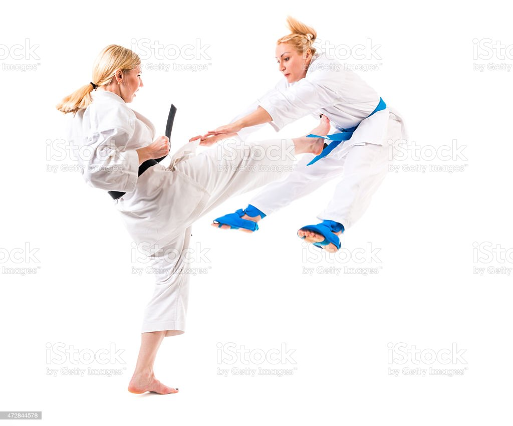 martial training two girls karate fight stock photo more pictures