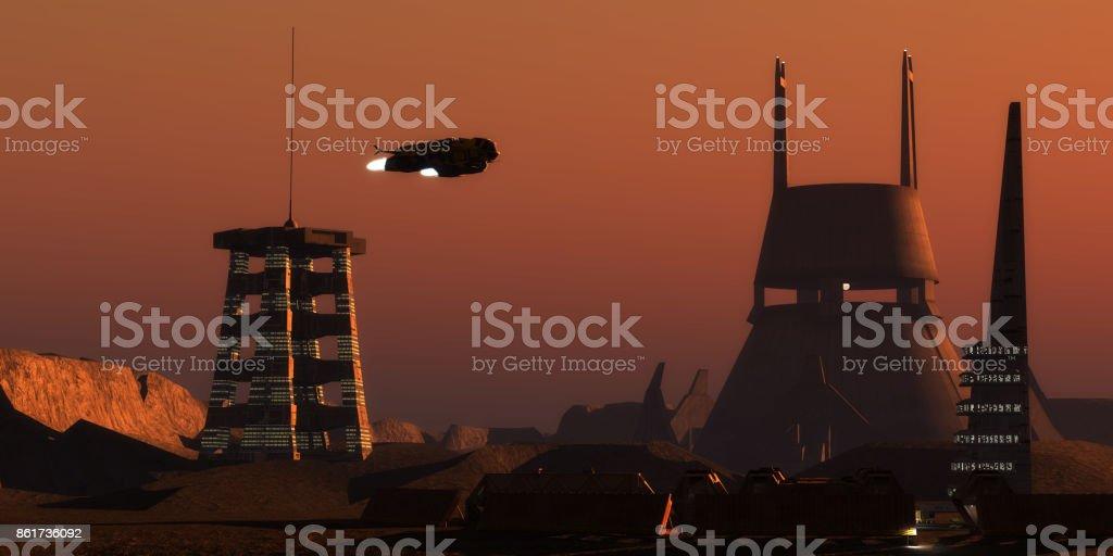 Martian Colonist Complex stock photo