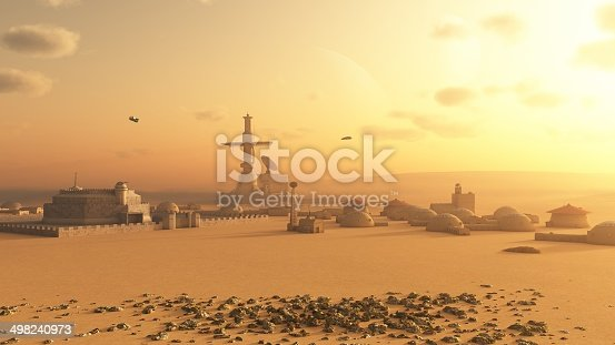 Science fiction illustration of a future colony settlement on Mars, 3d digitally rendered illustration