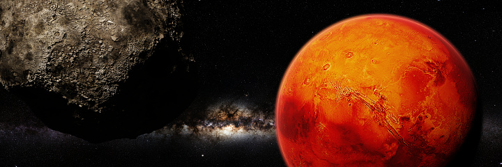 artist's interpretation of the red planet, panorama banner
