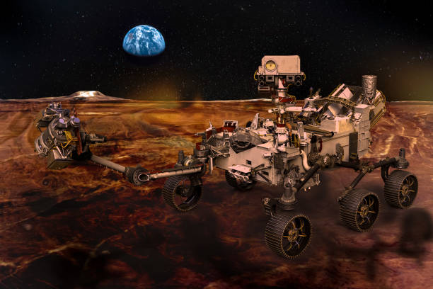 Martian rover on the surface of the red planet, the alien landscape and the planet Earth in the sky among the stars. Elements of this image furnished by NASA. Martian rover on the surface of the red planet, the alien landscape and the planet Earth in the sky among the stars. Elements of this image furnished by NASA.\  /urls: https://images-assets.nasa.gov/image/S91-50687/S91-50687~orig.jpg, https://images-assets.nasa.gov/image/PIA22935/PIA22935~orig.jpg, https://images-assets.nasa.gov/image/as11-44-6551/as11-44-6551~orig.jpg, https://mars.nasa.gov/imgs/mars2020/rover/Mars2020_rover.png, https://images-assets.nasa.gov/image/iss057e035382/iss057e035382~orig.jpg / rover stock pictures, royalty-free photos & images