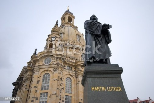 The statue of Martin Luther in front of the Frauenkirche in Dresden.