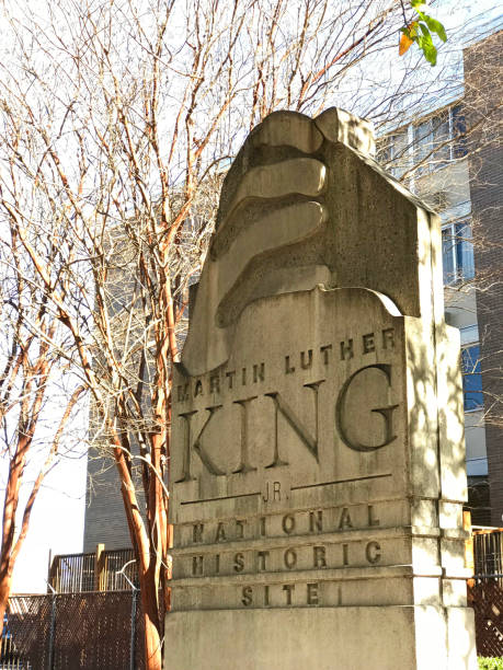 Martin Luther King Jr. National Historic Site - Atlanta Atlanta, Georgia, USA - December 13, 2017: The main entrance pillar to Martin Luther King Jr. National Historic Site on a sunny winter day. martin luther king day stock pictures, royalty-free photos & images