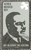 "Sacramento, California, USA - March 19, 2011: A 1999 USA postage stamp with an image of Martin Luther King, Jr (1929-1968). King is depicted wearing a badge that reads: MARCH ON WASHINGTON FOR JOBS & FREEDOM, and in the background is the Washington Memorial and a large crowd of people. The stamp commemorates the August 28, 1963 demonstration in Washington, D.C. in which King delivered his historic ""I Have a Dream"" speech."