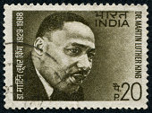 Richmond, Virginia, USA - June 17th, 2012: Cancelled Stamp From India Featuring The American Civil Rights Leader, Martin Luther King Jr.