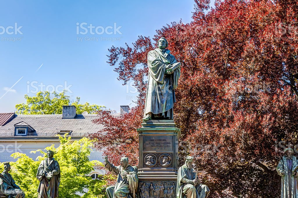 Martin Luther Memorial in Worms royaltyfri bildbanksbilder