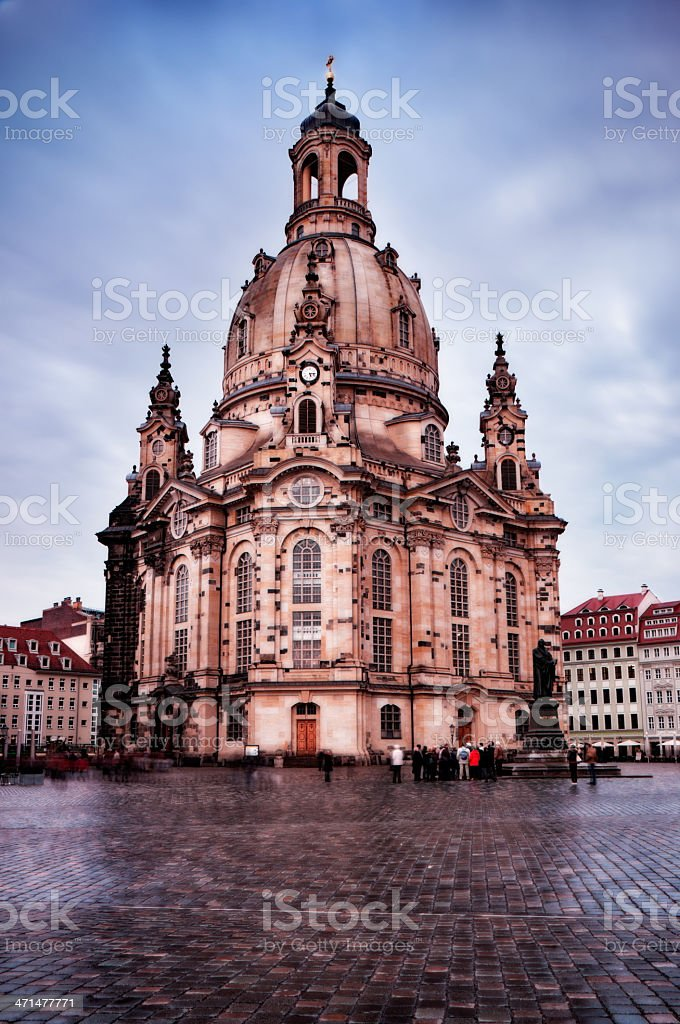 Martin Luther statue and Lutheran church in Dresden, Germany royalty-free stock photo