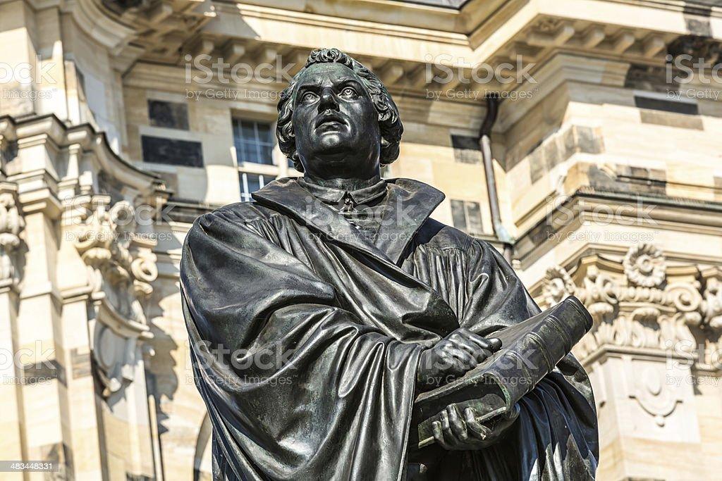 Martin Luther-statue in Dresden - Lizenzfrei Außenaufnahme von Gebäuden Stock-Foto