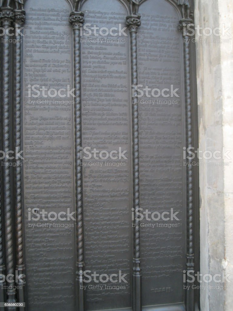 Martin Luther's 95 Theses-Wittenberg, Germany stock photo