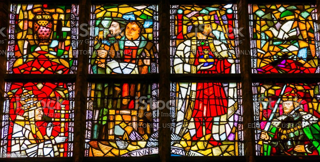Martin Luthur Stained Glass New Cathedral Nieuwe Kerk Delft Netherlands stock photo