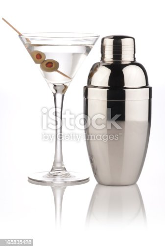 Martini Glass and Shaker on Reflective White Background.  Similar Photos on Lightbox COCKTAIL AND DRINKShttp://i1215.photobucket.com/albums/cc503/carlosgawronski/CocktailsandDrinks.jpg