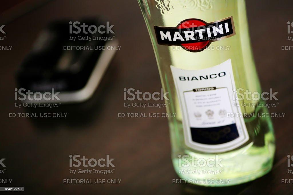 Martini Bianco bottle detail stock photo