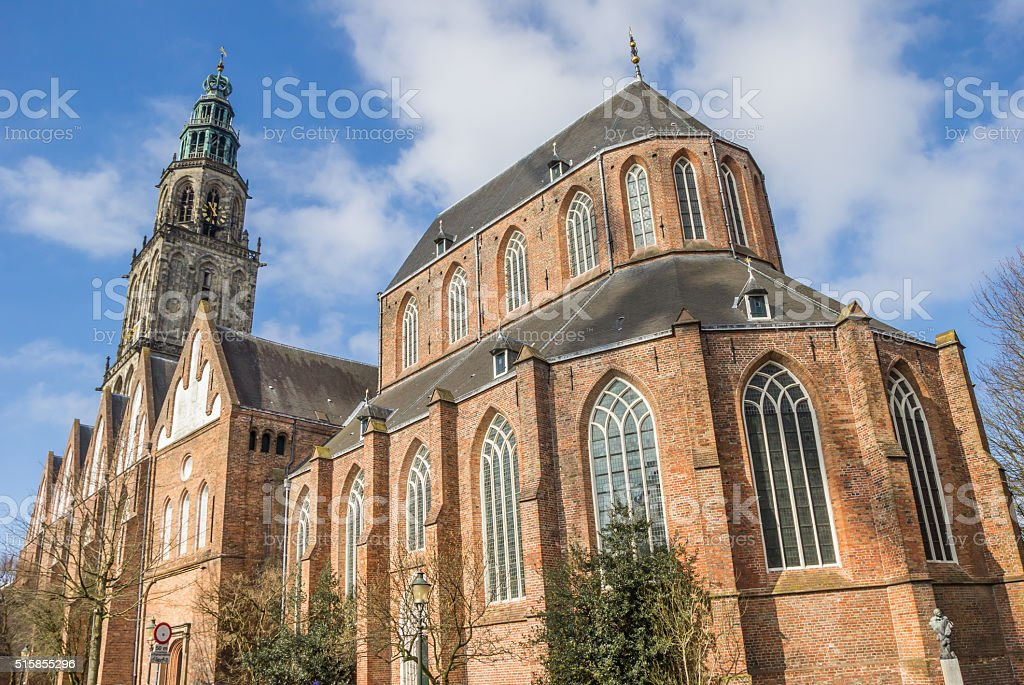 Martini church and tower in the center of Groningen stock photo