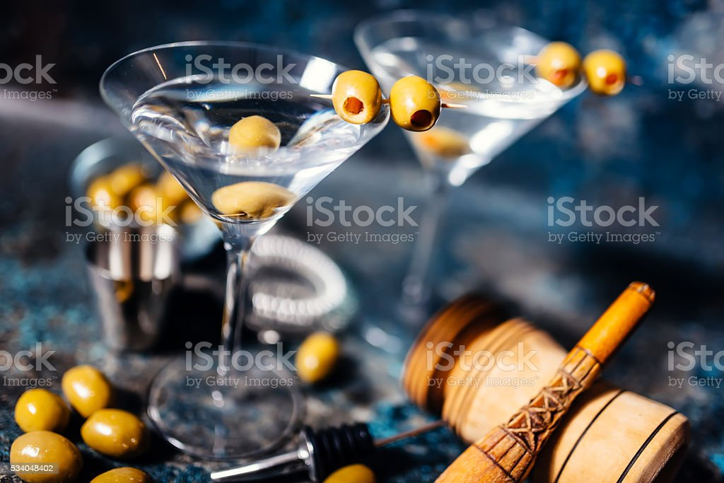 Martini, classic cocktail with olives, vodka and gin stock photo