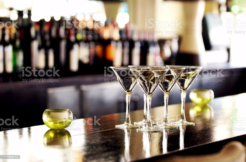 Martini Cocktail Glasses on Bar stock photo