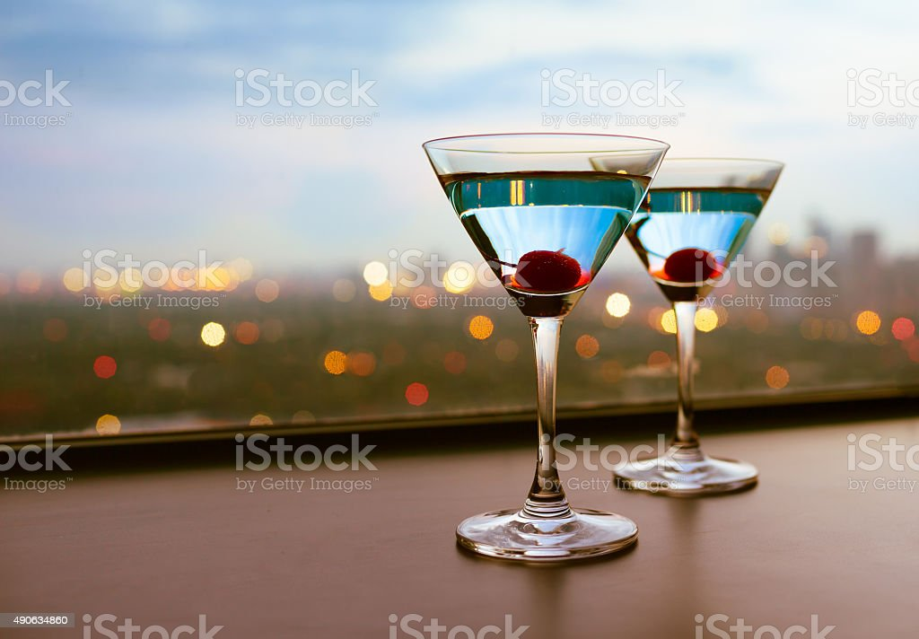 Martini cocktail glasses stock photo