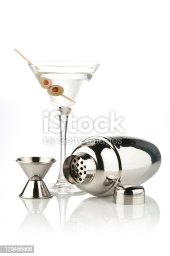 Martini Glass, Shaker and Measuring Cup on Reflective White Background.  Similar Photos on Lightbox COCKTAIL AND DRINKS http://i1215.photobucket.com/albums/cc503/carlosgawronski/CocktailsandDrinks.jpg