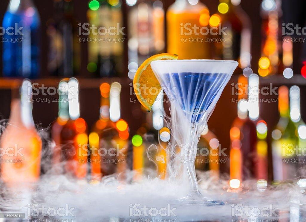 Martini drink on bar counter stock photo