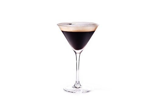 Martini espresso cocktail isolated on white background