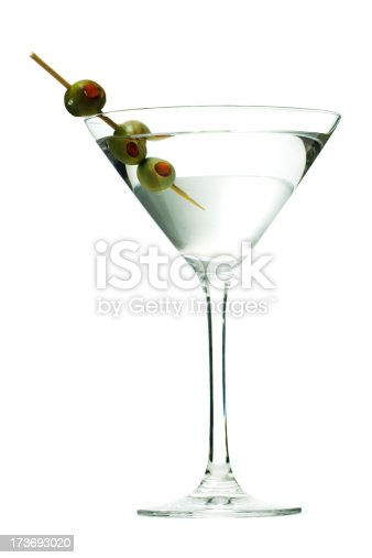 Subject: A Martini with olives isolated on a white background.