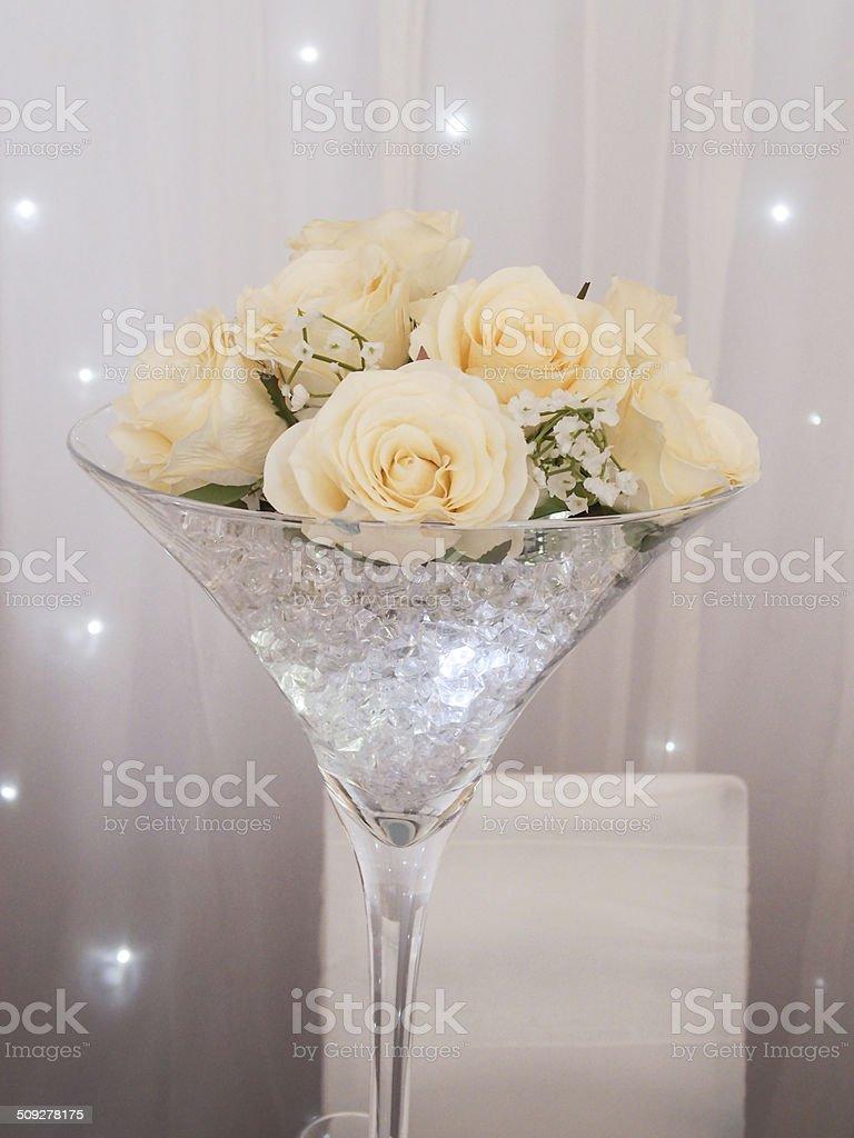 Martini Glass Table Decoration With Cream Flowers Stars Diamonds ...