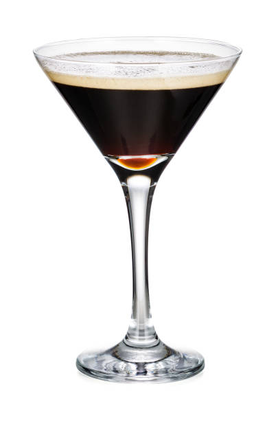 Martini Glass With Black Coffee Isolated On White Background Martini Glass With Black Coffee Isolated On White Background With Clipping Path martini stock pictures, royalty-free photos & images