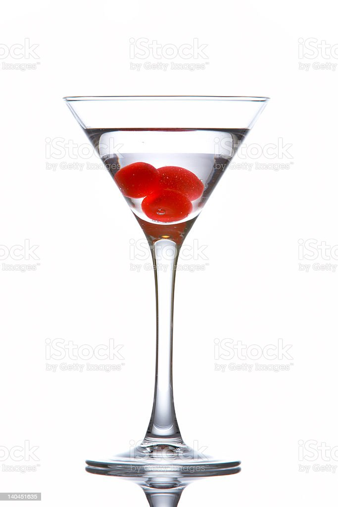 Martini glass with cherries stock photo