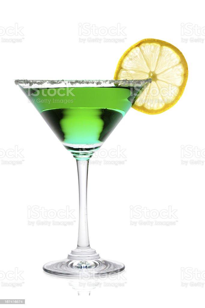 Martini glass with lemon isolated on white background royalty-free stock photo