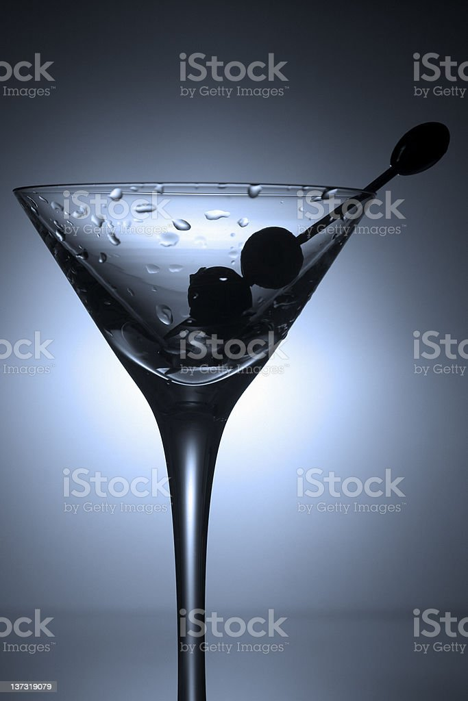 Martini Glass With Two Olives royalty-free stock photo