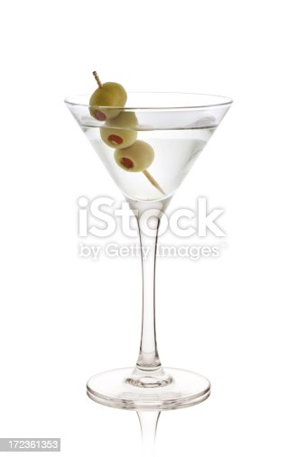 Martini Cocktail Isolated on White Background.