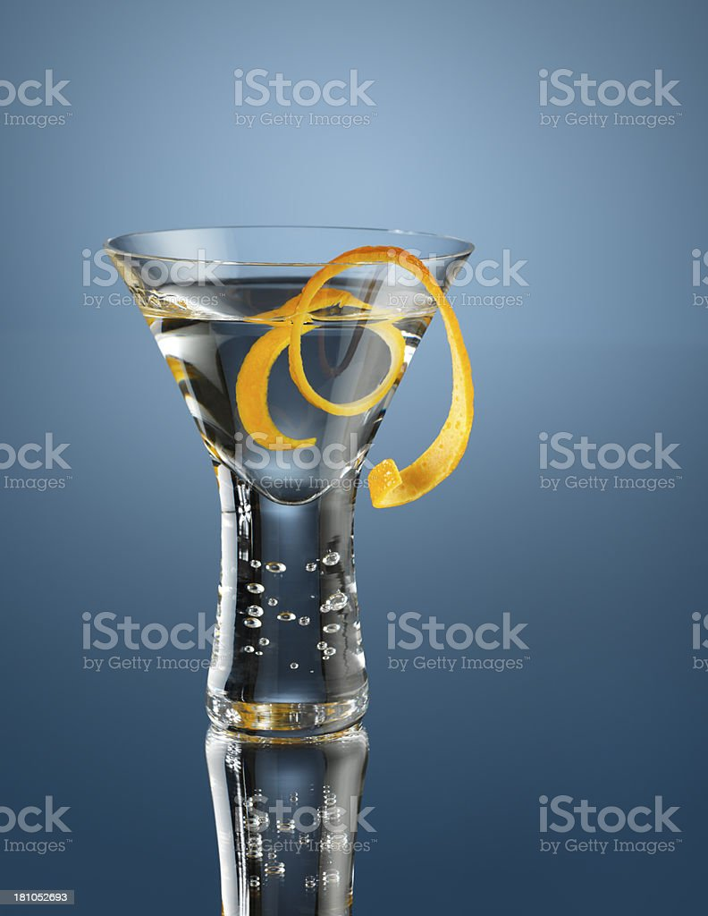 Martini with a twist of orange stock photo