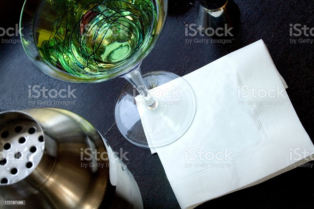 Martini with blank napkin stock photo