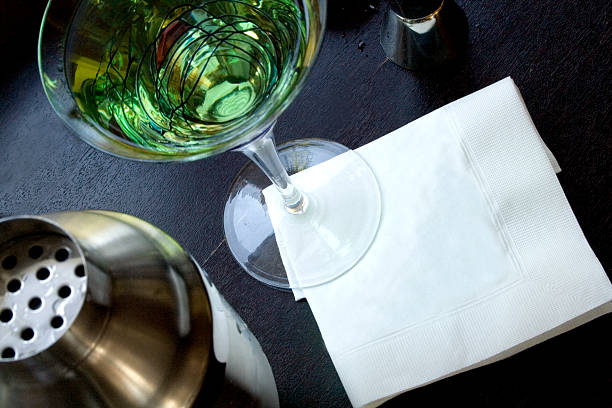 martini with blank napkin - servett bildbanksfoton och bilder