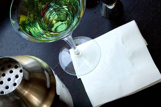 Martini with blank napkin stock photo
