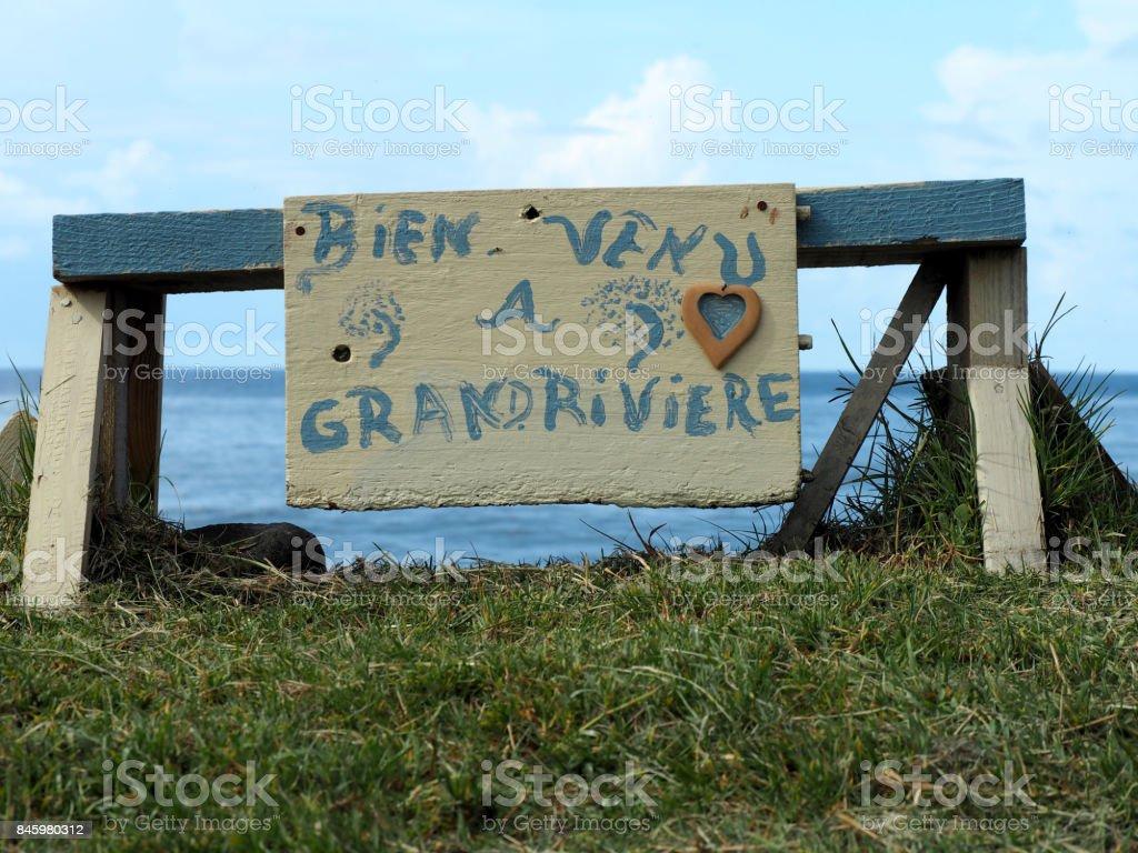 Martinique Grand Rivière Panneau de Bienvenue stock photo